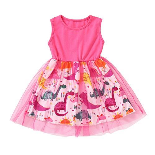 YWLINK Vestido De Malla Estampado Sin Mangas Cuello Redondo Para NiñAs Vestido De Princesa De Dinosaurio PequeñO De Dibujos Animados Con Costura Verano Baratos Fiesta Casual Camiseta Vestido Chica