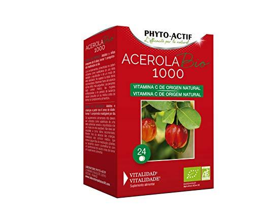 PHYTO-ACTIF - Acerola 1000 BIO, complemento alimenticio ecológico a base de acerola, rica en vitamina C natural, vitalidad, 24 comprimidos masticables de 2,5 g.