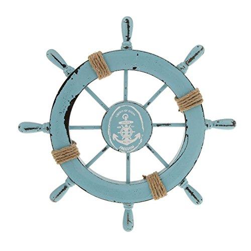ROSENICE Steuerrad mit Anker Holz Wanddeko Maritime Deko