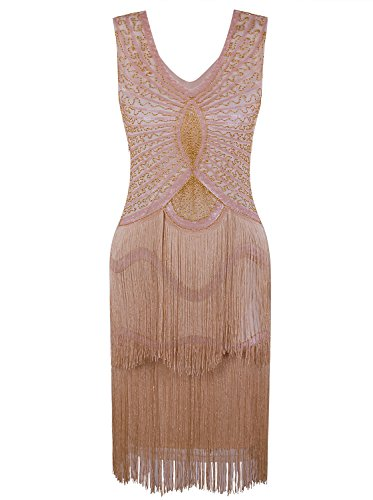 VIJIV Women's 1920s Gatsby Inspired Dresses Beaded Cocktail 20s Themed Party Flapper Fringe Dress Apricot Gold Large