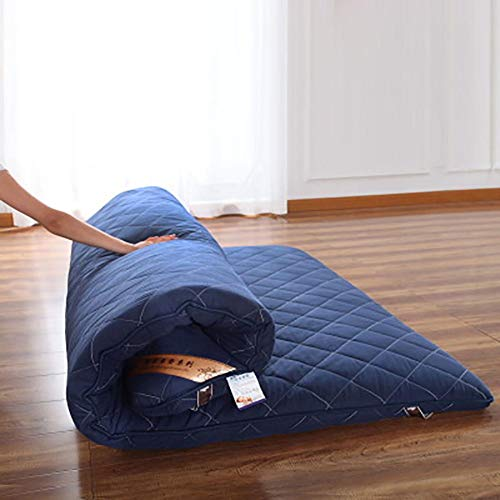 Traditionell Japanisch Boden Futon Matratzen,100% Baumwolle Gesteppte Tatami Falten Kissen Matten Für Yoga Meditaion Blau 120x200cm/47x79inch