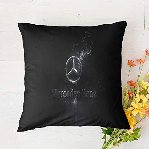 Mercedes Benz - Funda de almohada cuadrada suave y decorativa, fundas de almohada para salón, sofá, dormitorio con cremallera invisible