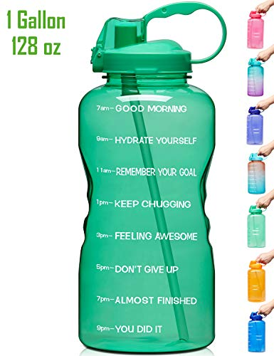 Venture Pal Large 1 Gallon/128 OZ (When Full) Motivational BPA Free Leakproof Water Bottle with Straw & Time Marker Perfect for Fitness Gym Camping Outdoor Sports-Green