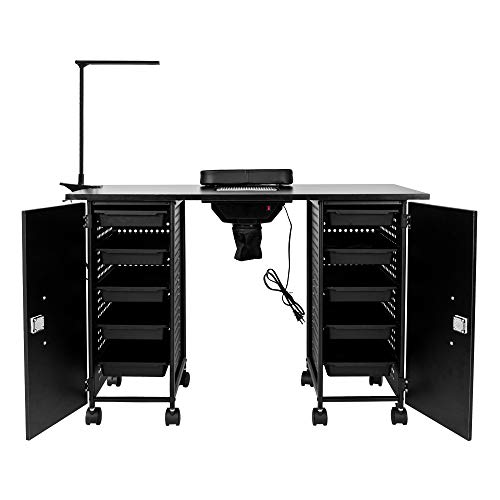 HOTYARD Nail Table, Manicure Table, Nail Beauty Spa Salon Desk, Eight Locking Casters, with Electric Downdraft Vent, Wrist Rest, Cabinets, Casters and Clip-On LED Lamp (Black)