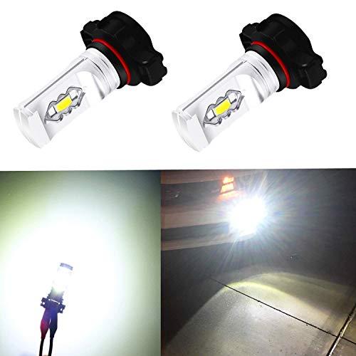 Alla Lighting 3800lm 2504 PSX24W LED Fog Light Bulbs 12276, 6000K Xenon White Xtreme Super Bright PG20 7 Base ETI-56 SMD 12V Upgrade