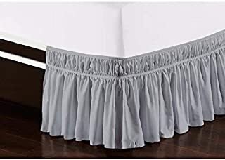 Cottingon Wrap Around Elastic Bed Skirt,Three Sides Fabric, Solid, Easy On/Easy Off Dust Ruffled Bed Skirts,Dust Ruffle Wr...