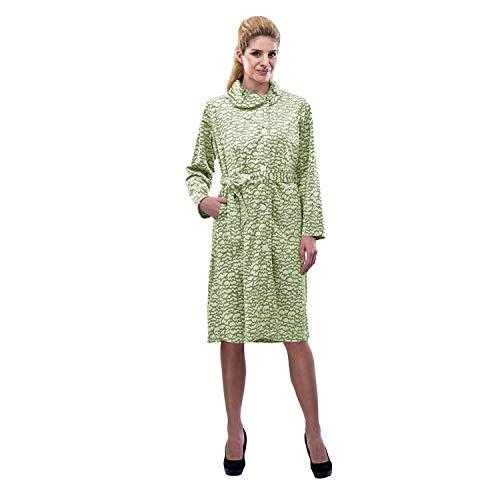 RAIKOU Damen Hausmantel Bademantel Hauskleid mit Knopfleiste Design in Ausbrenntechnik mit Leo-Druck (Leo Grün,40/42)