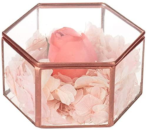 Caja de cristal de la joyería de la vendimia caja de cristal adornada anillo pendiente caja de cristal conservada caja decorativa de la boda (cobre)