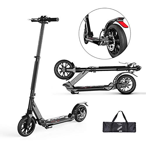 Fantastic Deal! Scooters Adjustable Black Adult Kick with Disc Handbrake, 2-Wheel Folding for Teens ...