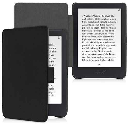 kalibri Tolino Shine 3 Hülle - Leder eBook eReader Schutzhülle Cover Case für Tolino Shine 3 - Schwarz