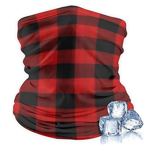 Face Guard Mask Shield Multifunction Bandana Cool Women Tube Scarf Head Neck Gaiter, Red Black Buffalo Check Plaid Pattern