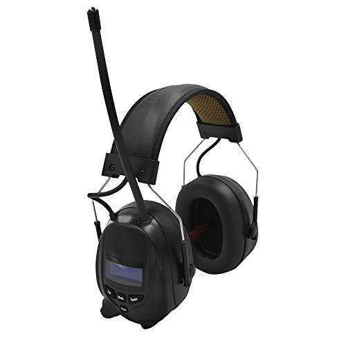 Gehörschutz mit Radio DAB/DAB+ FM, integrierter Bluetooth-Technologie und Mikrofon, wiederaufladbarem Gehörschutz für Arbeitsgeräusche / Mähen / Sägen usw. , SNR 30dB (Schwarz, Freesize)