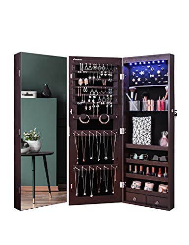 Nicetree 8 LED Mirror Jewelry Cabinet, Jewelry Armoire Organizer with Full Screen Mirror, Wall/Door Mounted, Full Length Mirror, Brown