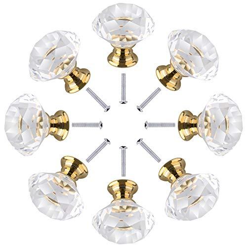 16pz 30mm Pomelli per cassetti in cristallo trasparente Pomelli per porte Armadietto decorativo Maniglia per mobili, cassetti tiranti con viti Vetro Diamante per cassetti per mobili da ufficio