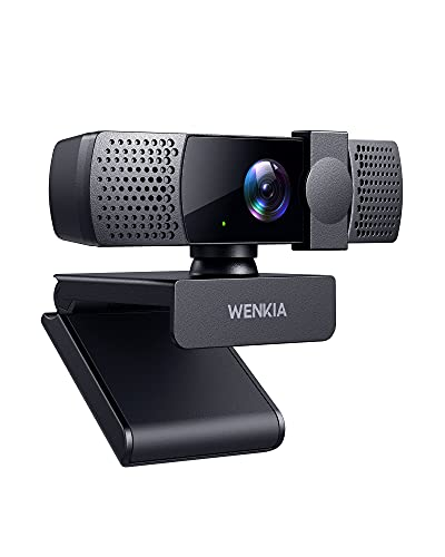 2021 WENKIA 1080p Webcam with Dual Stereo Microphones & Privacy Cover, HD USB Web Computer Camera with Auto Light Correction for Video Conferences & Calls, Compatible with Windows & Mac, PC & Laptop