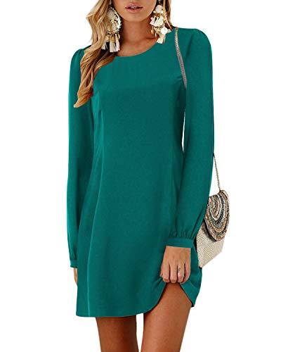 YOINS Sommerkleid Damen Kurz Tshirt Kleid Rundhals Kurzarm Minikleid Kleider Langes Shirt Lose Tunika mit Bowknot Ärmeln ,S,Langarm-grün
