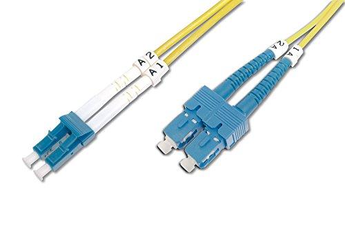 DIGITUS LWL Patch-Kabel Glasfaser - 10-m OS2 - SC APC auf LC Stecker - Fiber Netzwerk - Duplex - Single-Mode 09/125 µ