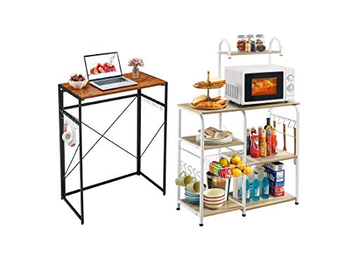"Mr IRONSTONE 31.5"" Folding Computer Desk & Kitchen Baker's Rack Utility Storage Shelf 35.5' Microwave Stand 3-Tier+4-Tier Shelf for Spice Rack Organizer Workstation"