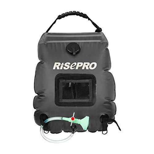 RISEPRO Solar-Duschtasche, 20 l, solarbetrieben, Campingdusche, mit Temperatur, Heißwasser, 45 °C, Wandern, Klettern Schwarz