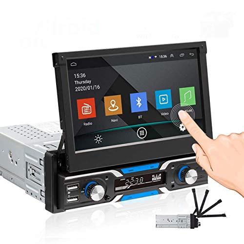 ZHBD 7 '' GPS Car Stereo, Pantalla Táctil Retráctil Capacitiva, Soporte Bluetooth WiFi Navigation & Mirror Link, con Tarjeta USB/SD/AUX-IN AUX-IN FM Radio Receptor De Radio