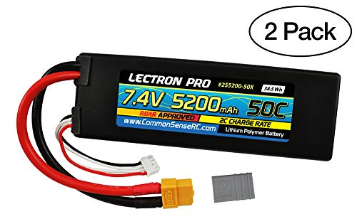 (2 Pack) Lectron Pro 7.4V 5200mAh 50C Lipo Battery with XT60 Connector + CSRC Adapter for XT60 Batteries to Popular RC Vehicles for 1/10 Scale Cars, Trucks, and Buggies