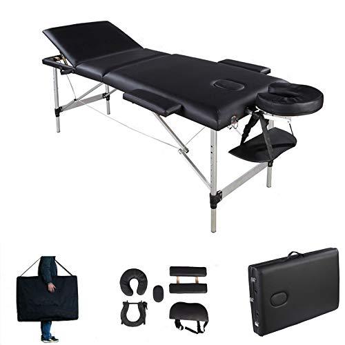 Mobile Massagetisch Massagetisch Massagebank Tragbar mit Tragetasche 3 Zonen Größe 186x62x60-85cm Aluminiumrahmen Robustes faltbares Massageliege Einfache Installation Schwarz bis 230kg belastbar