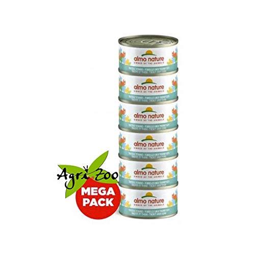 Almo Nature Megapack con tonno & acciughine confezione da 6 lattine da 70g - Cibo umido naturale per gatti adulti
