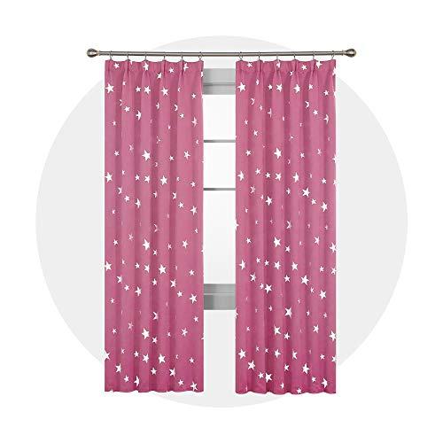 Deconovo Thermovorhang mit Sterne Dekoschals Lichtundurchlässig Vorhänge Kinderzimmer Mädchen 229x117 cm Pink 2er Set