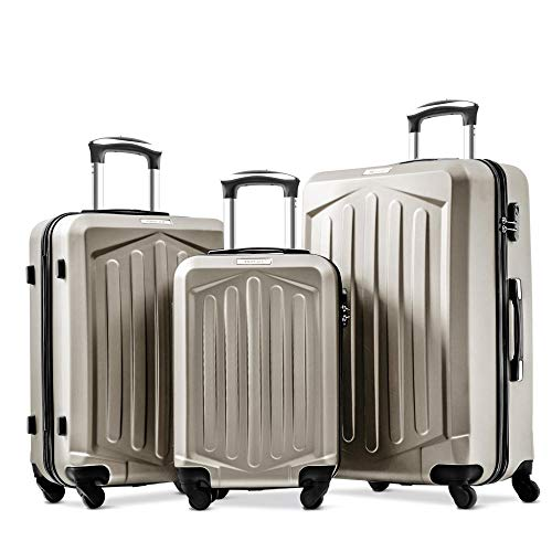 3 Pcs Super Lightweight ABS Hard Shell Travel 4 Spinner Wheels Suitcase Cabin Hand Luggage-Golden