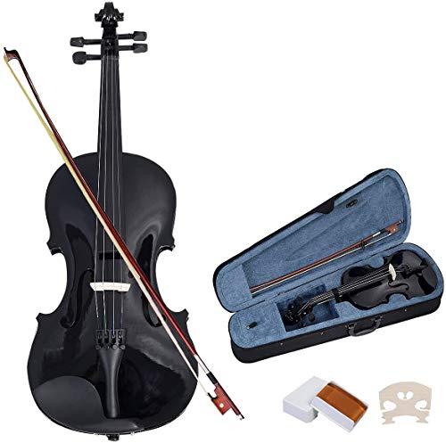 COSTWAY 4/4 Violine Geige Massivholz mit Koffer, Bogen Kolophonium und Saite, Fichte Ahorn, für Einsteiger Schüler Musikliebhaber(Schwarz)