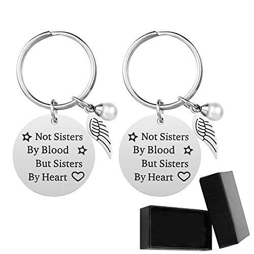 Premium-Schwester-Schlüsselanhänger - Nicht Schwestern von Blut, sondern Schwestern von Herzen Schwester Geburtstag Geschenk Freundin Freundschaft Geschenk Schlüsselanhänger (2 Stück)