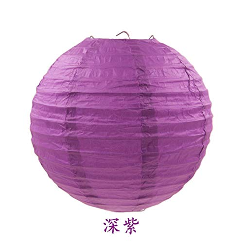 TTYAC 4-16inch (10-40cm) Chinesische Papierlaterne Runde Lampe Festival Lampion Hochzeit Glim Lampen Partydekorationen Halloween Laternen, Dunkelviolett, 14inch 35cm