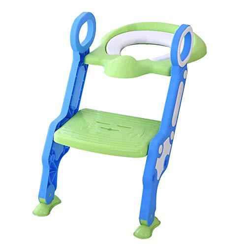 Asiento para ir al baño portátil con escalera para niños Asiento para inodoro para niños Inodoro para niños Silla plegable para ir al baño Entrenamiento-Verde