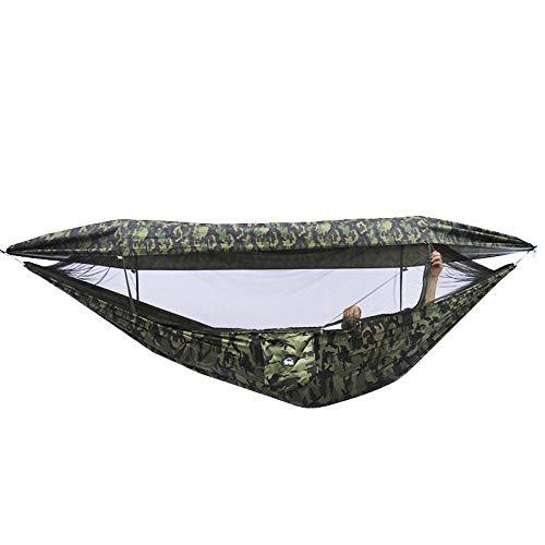 HUANXI Portable Double Hamac Jardin avec Sac De Rangement + Sangle,300kg Capacité de Charge (290x145cm) Camouflage Randonnée Accessoires pour Matériau Extérieur en Nylon Anti- avec Super Taille