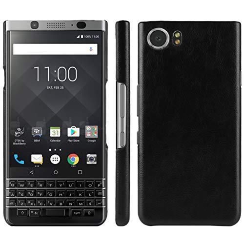 HualuBro Handyhülle für BlackBerry Keyone Hülle, Retro PU Leder Ultra Slim Stoßfest Bumper Hülle Cover Schutzhülle Lederhülle Backcover für BlackBerry Keyone Tasche (Schwarz)
