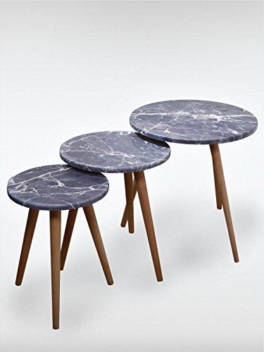 roombird Beistelltisch 3er Set Marble Grey in Marmor-Optik