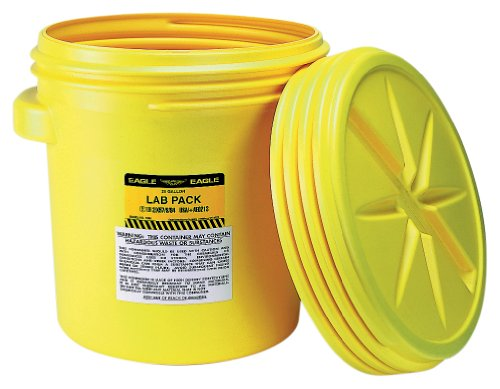 Eagle 1650 Yellow Blow-Molded HDPE Lab Pack with Screw Top Lid, 20 gallon Capacity, 20.75' Height, 20.5' Diameter