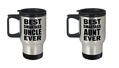 Best Smartass Uncle and Aunt Ever Funny Travel Mug SET OF TWO Gift from Niece Nephew Sister Aunt Family Joke Gag Sarcastic Coffee Cup