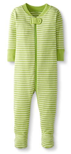 Moon and Back by Hanna Andersson Pyjama en coton bio avec pieds, pour tout-petits, bébés, Lime Green Stripe, 2 ans (82-87 CM)