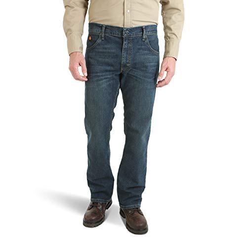 Wrangler Men's FR Flame Resistant Slim Boot Cut Jean, Dark Tint, 28x30