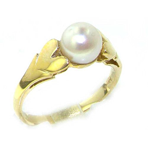 9ct Yellow Gold Ladies Lustrous Pearl Ring with Heart Shoulders - Size R