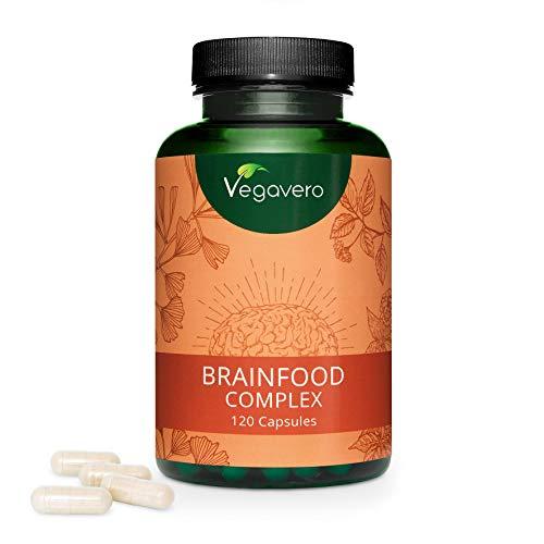 ENERGÍA + MEMORIA + CONCENTRACIÓN Vegavero® | Omega 3 Vegano (DHA) + Ginseng + Cafeína de Guaraná + Ginkgo Biloba + Vitaminas B | 120 Cápsulas | Brainfood Complex