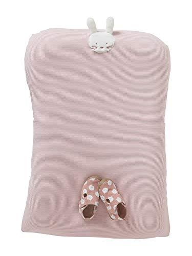 Vertbaudet Schonbezug für Wickelauflage, Baumwolljersey rosa gestreift/hase ONE Size