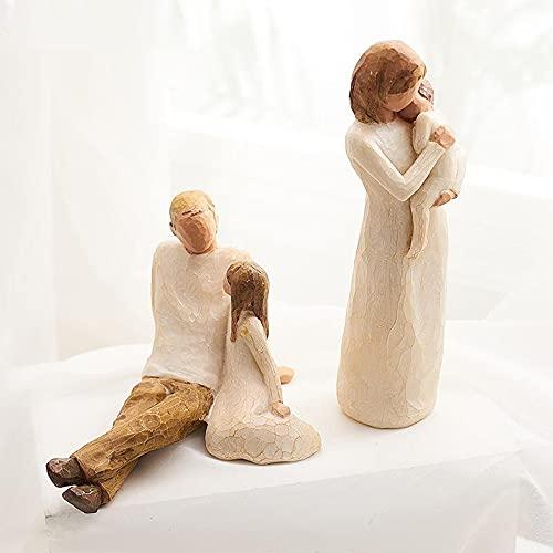 LUNANA Willow Tree New Life Statue, VierköPfige Familie, Vater, Mutter, Tochter, Perfektes Tischdekorationsgeschenk, Harzdekoration Im Nordischen Stil