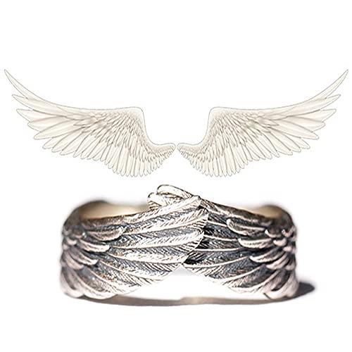 Angel Wing Ring – 925 Sterling Zilver Paar Ring voor Vrouwen Mannen Minnaar Feather Angel Wing Mens Ringen Zilveren…