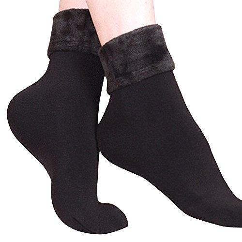 Huhu83 Damen Woll Cashmere Socken, Einfarbig verdicken thermische weiche beiläufige Winter Socken plus Samt Boden Socken Teppich Socken (Schwarz)