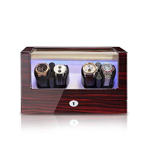 KHUY Watch Winder 4 Orologi Premium Scatola del Tempo Carica Orologi, Porta Orologi per Donna e Uomo, Scatola Orologi AC o Motore Silenzioso Alimentato a Batteria (Color : Stripe C)