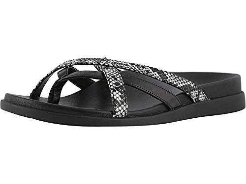 Vionic Women's Palm Daisy Toe-Post Sandal - Ladies Flip-Flop Concealed Orthotic Support Natural Snake 6 M US