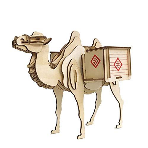 Modelo de construcción de madera 3D rompecabezas de juguete kit de construcción de artesanía en madera madera animal camello barco del desierto contenedor de pluma