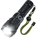 Rechargeable LED Flashlight High Lumens, 90000 Lumens Super Brgiht Tactical Flashlights,Flash Light Powered 26650 Battery & XHP70.2 LED, Zoomable & Waterproof Flashlights for Emergencies, Camping